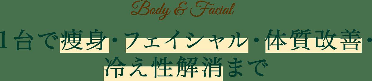Body&Facial 1台で痩身・フェイシャル・体質改善・冷え性解消まで⇨文字をでかく